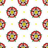 Tudor Rose seamless pattern. Following the War of the Roses, the red rose of the house of Lancaster and the White rose of the house of York combined to make Stock Photo
