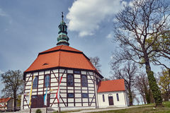 Tudor style country church with a bell tower Royalty Free Stock Photos