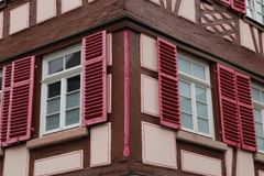 Tudor style house. Facades of houses in the old style. Facades of houses in the old style stock photo