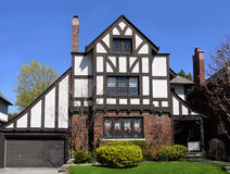 Tudor style house. That faithfully reproduces many of the characteristics of the real thing Stock Photo
