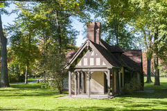 Tudor style playhouse. A tudor playhouse architecture in a wooded land Stock Photo