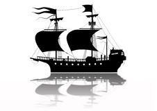 Tudor Warship Silhouette isolated. Tudor Warship Silhouette with wind in sails Stock Images