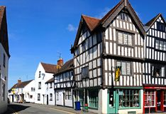 Tudorgebouwen, Tewkesbury stock foto's