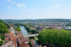 Tuebingen,德国老镇的鸟瞰图  免版税库存照片