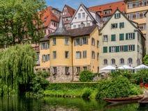Tuebingen Neckar στον ποταμό Στοκ εικόνες με δικαίωμα ελεύθερης χρήσης