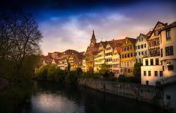 Tuebingen am Neckar Cityscape in bad weather Royalty Free Stock Image