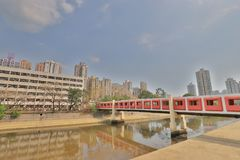 Tuen Mu天时间的一个屯门河沿公园 免版税图库摄影