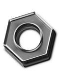 Tuerca metálica aislada Imagen de archivo libre de regalías