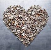 Tuercas clasificadas - y - corazón de los tornillos Imágenes de archivo libres de regalías