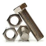 Tuercas de acero - y - tornillos Imagen de archivo
