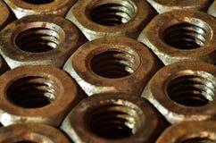 Tuercas oxidadas Fotos de archivo