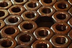 Tuercas oxidadas Foto de archivo