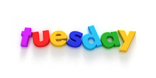 Tuesday. Word formed with colourful letter magnets on neutral background Royalty Free Illustration