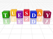 Tuesday in 3d coloured cubes. 3d coloured cubes with letters makes tuesday Royalty Free Stock Photography