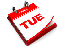 Tuesday calendar. 3d illustration of calendar with tuesday page open, over white background Royalty Free Stock Images