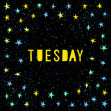 Tuesday card template. Handmade childish angular applique star Royalty Free Stock Images