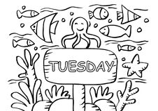 Tuesday Coloring Page with fishs Stock Images