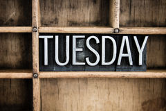 Tuesday Concept Metal Letterpress Word in Drawer Stock Image