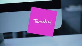 tuesday Dagar av veckan Inskriften på klistermärken på bildskärmen vektor illustrationer