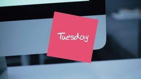 tuesday Dagar av veckan Inskriften på klistermärken på bildskärmen stock illustrationer