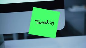 tuesday Dagar av veckan Inskriften på klistermärken på bildskärmen royaltyfri illustrationer