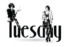 The fashion girl in sketch style. Tuesday with fashion girl in sketch style. Vector illustration Royalty Free Stock Photography