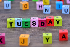 Tuesday word on table Royalty Free Stock Photography