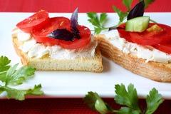 Tueste con las rebanadas del queso y del tomate en una placa Imagen de archivo
