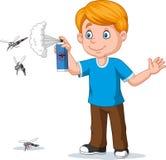 Tueur de pulvérisation d'insecte de garçon de bande dessinée aux moustiques illustration libre de droits