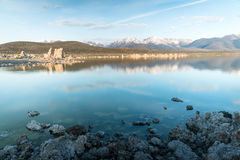 Tufa fomations by Mono Lake in California USA. Tufa fomations of Mono Lake in California USA lit by morning light Royalty Free Stock Photo