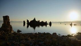 Tufa Formation on Scenic Mono Lake California at Sunrise - Time Lapse stock video footage