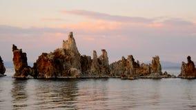 Tufa Formation on Scenic Mono Lake California at Sunrise stock video footage