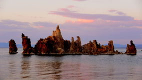Tufa Formation on Scenic Mono Lake California at Sunset - Time Lapse stock video footage