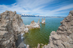 Tufa Formations Mono Lake. View from a formation of tufa looking north across the lake Royalty Free Stock Images