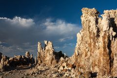 Tufa formations. Tufa towers in late afternoon light at Mono Lake Royalty Free Stock Image
