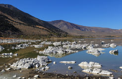 Tufa. At Mono Lake in California`s eastern Sierra, rocky structures called `tufa` form when minerals precipitate from the alkaline water Stock Photography