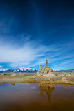 Tufa Reflection in the Pond Stock Photo