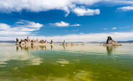 Tufa in the salty waters of Mono Lake in California Royalty Free Stock Photography