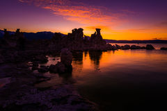 Tufa Towers at Mono Lake against Beautiful Sunset Sky Royalty Free Stock Images
