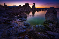 Tufa Towers at Mono Lake against Beautiful Sunset Sky Stock Image