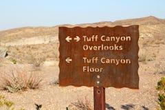 Tuff Canyon Sign Stock Photo