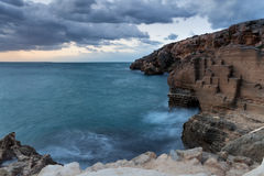 Tuff cave on the sea, Favignana Stock Images