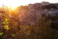 Tuff city of Sorano. Top view of the old  famous tuff city of Sorano at the dawn, province of Siena. Tuscany, Italy Stock Photography