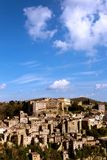 Tuff city of Sorano. Top view of the old  famous tuff city of Sorano, province of Siena. Tuscany, Italy Royalty Free Stock Image