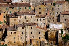 Tuff city of Sorano. Top view of the old  famous tuff city of Sorano, province of Siena. Tuscany, Italy Stock Image
