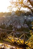 Tuff city of Sorano. View at the  the old  famous tuff city of Sorano at dawn, province of Siena. Tuscany, Italy Royalty Free Stock Photo