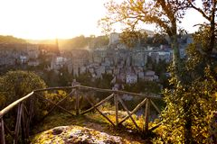 Tuff city of Sorano. View at the  the old  famous tuff city of Sorano at dawn, province of Siena. Tuscany, Italy Stock Photos
