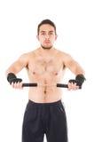 Tuff kampsportkämpe som bär svarta kortslutningar Royaltyfri Foto