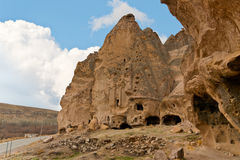 Tuff stone cave Cathedral of Selime inCappadocia. Ancient tuff stone cave Cathedral of Selime in Goreme Cappadocia Stock Photo