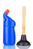 Tuffatore e bottiglia detersiva fotografia stock